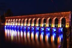 Beyşehir Stone Bridge. Color lake Stock Image