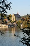 The Beyenburger Artificial Lake in the evening sun. The Artificial Lake in Wuppertal-Beyenburg, Northrine-Westphalia, Germany, in the evening sun in autumn; in Royalty Free Stock Images