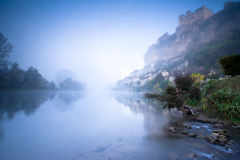 Beynac castle at dawn Dordogne Perigord Noir France Stock Photos