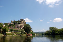 Beynac and the Dordogne. The Chateau de Beynac  towering over the town of Beynac on the banks of the Dordogne river, France Stock Photography