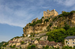Beynac-et-Cazenac old castle and city on a cliff Royalty Free Stock Photo