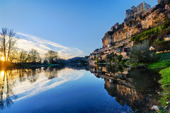 Beynac Lake and Castle Royalty Free Stock Image