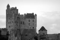 Beynac Medieval Castle Black and White Royalty Free Stock Images
