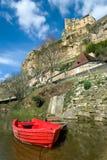 Beynac met het kasteel op de klip Royalty-vrije Stock Fotografie