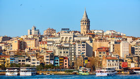 Beyoglu区历史的建筑学和加拉塔塔中世纪地标在伊斯坦布尔,土耳其 免版税库存照片