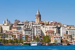 Beyoglu district and Galata tower Royalty Free Stock Images
