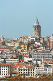 Beyoglu district historic architecture and Galata tower, Istanbul royalty free stock image