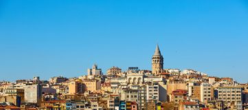 Beyoglu district historic architecture and Galata tower medieval landmark in Istanbul, Turkey.  royalty free stock image