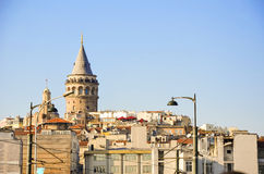 Beyoglu district historic architecture and Galata tower medieval Stock Images