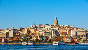 Beyoglu district historic architecture and Galata tower medieval landmark in Istanbul, Turkey Royalty Free Stock Photography