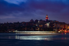 Beyoglu district historic architecture and Galata tower medieval landmark in Istanbul, Turkey Royalty Free Stock Photo
