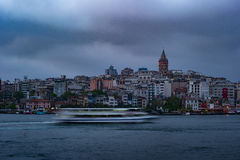 Beyoglu district historic architecture and Galata tower medieval landmark in Istanbul, Turkey Royalty Free Stock Image