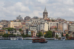 Beyoglu district historic architecture and Galata tower medieval landmark over the Golden Horn in Istanbul, Turkey Royalty Free Stock Photos
