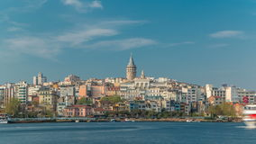 Beyoglu district historic architecture and Galata tower medieval landmark timelapse in Istanbul, Turkey stock video footage