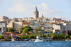 Beyoglu District in Istanbul. Beyoglu district historic architecture and Galata tower medieval landmark in Istanbul, Turkey stock photo