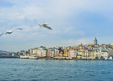 The Beyoglu district. The view on promenade of the Beyoglu district, topped by medieval Galata Tower, Istanbul, Turkey stock photo
