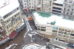 Beyoglu from Galata in Winter Royalty Free Stock Images