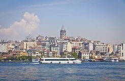 Beyoglu historic district and Galata tower in Istanbul Stock Image