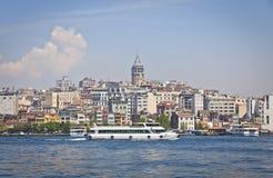 Beyoglu historic district and Galata tower in Istanbul Stock Image
