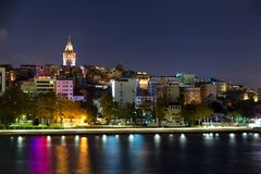Beyoglu historic district and illuminated Galata tower medieval landmark in Istanbul at night, Turkey. Beyoglu historic district and illuminated Galata tower stock images