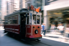 Beyoglu, Nostalgic Cable Car. A nostalgic cable car moving along the famous 'Istiklal Caddesi' road in Beyoglu, Istanbul stock photos