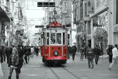 Beyoglu -Taksim tram. People travelling in streetcar in Istiklal Caddesi. The historic tram cars are small and cannot hold many passengers, and are often full royalty free stock photo
