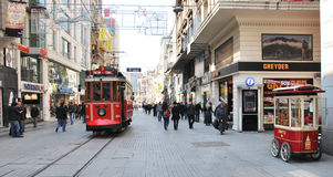 Beyoglu -Taksim tram. People travelling in streetcar in Istiklal Caddesi. The historic tram cars are small and cannot hold many passengers, and are often full royalty free stock images