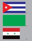 Beyond the Axis of Evil Flags. The flags of Cuba, Libya and Syria. (On May 6, 2002, John R. Bolton, then Under Secretary for Arms Control and International stock illustration