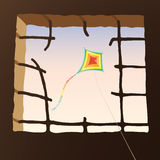 Beyond the  bars. Vector illustration  with broken bars and  kite Royalty Free Stock Photography