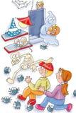 Beyond the cellar of fear small yellow shivering children comic humorist design vector illustration