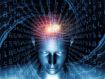 Beyond Digital Thinking. Design composed of human head, fractal grids and numbers as a metaphor on the subject of science, math, geometry and modern technology Royalty Free Stock Photo