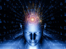 Beyond Digital Thinking. Design composed of human head, fractal grids and numbers as a metaphor on the subject of science, math, geometry and modern technology Stock Photography
