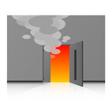 Beyond the fire door. Vector illustration.Original paintings and drawing Stock Photography