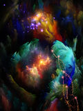 Beyond Fractal Dreams. Never Worlds series. Design composed of colorful dimensional fractal worlds as a metaphor on the subject of fantasy, dreams, creativity Royalty Free Stock Image