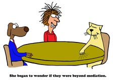 Beyond Mediation. Cartoon about two opposite points of view, they were beyond mediation Stock Photo