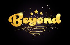 Beyond star golden color word text logo icon. Beyond word with star and golden color suitable for card icon or typography logo design royalty free illustration