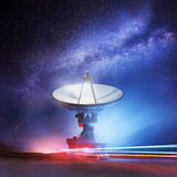 Beyond The Stars. A radio telescope pointing upwards into the night sky. Astronomy background. Illustration Stock Images