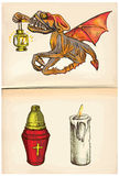 Beyonder y velas - un vector dibujado mano Fotos de archivo libres de regalías