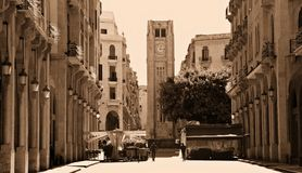 Beyrouth du centre dans la sépia Photos stock