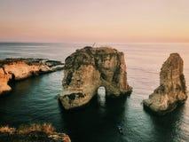 Beyrouth - roches de pigeon Photos stock