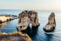 Beyrouth - roches de pigeon Photo libre de droits