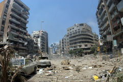 Beyrouth sous le bombardement Photo stock
