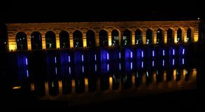 The Beysehir Stone Bridge at night. Stock Photo