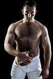 Bez koszuli futbolu amerykańskiego gracz z piłką Obrazy Royalty Free