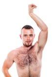 Bez koszuli kosmaty mężczyzna pozować Zdjęcia Stock
