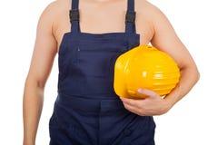 Bez koszuli młody konstruktor - odosobniony Zdjęcie Royalty Free
