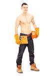 Bez koszuli mięśniowy męski pracownik budowlany Obraz Stock