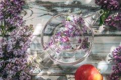Bez kwitnie w przejrzystym szklanym teapot na b??kitnym starym drewnianym stole zdjęcia royalty free