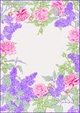 Bez, róże Rama ilustracja wektor