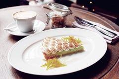 Beza deser z kawą, ranku posiłek Fotografia Stock